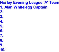 Norley Evening League 'A' Team 1. Alan Whitelegg Captain 2. 3. 4. 5. 6. 7. 8. 9. 10.