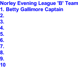 Norley Evening League 'B' Team 1. Betty Gallimore Captain 2. 3. 4. 5. 6. 7. 8. 9. 10